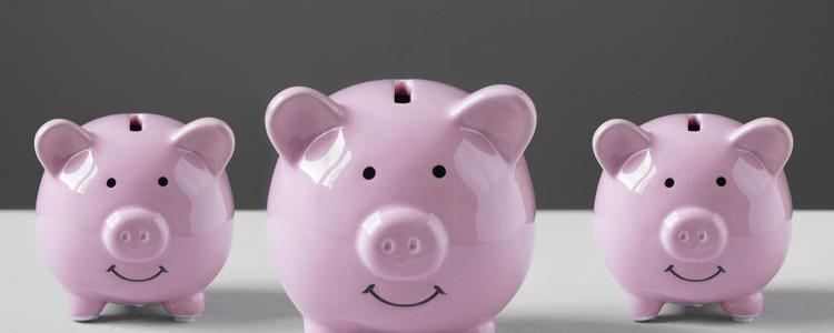 three pink pig-shaped money boxes